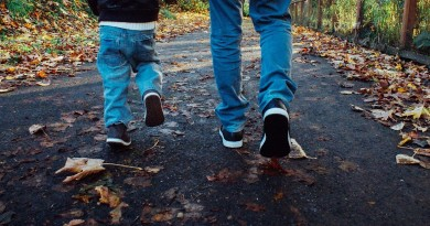 Man and boy walking